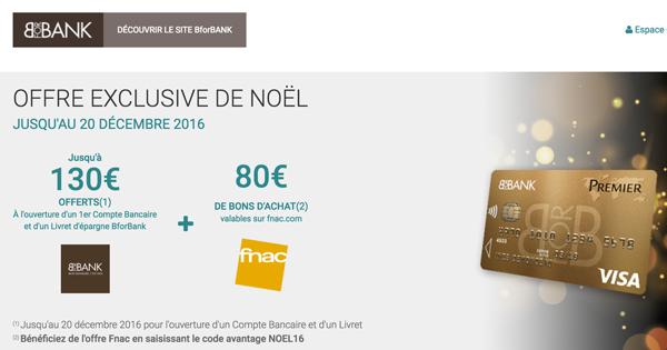 Fnac et BforBank : 210 EUR offerts en novembre et décembre 2016 !
