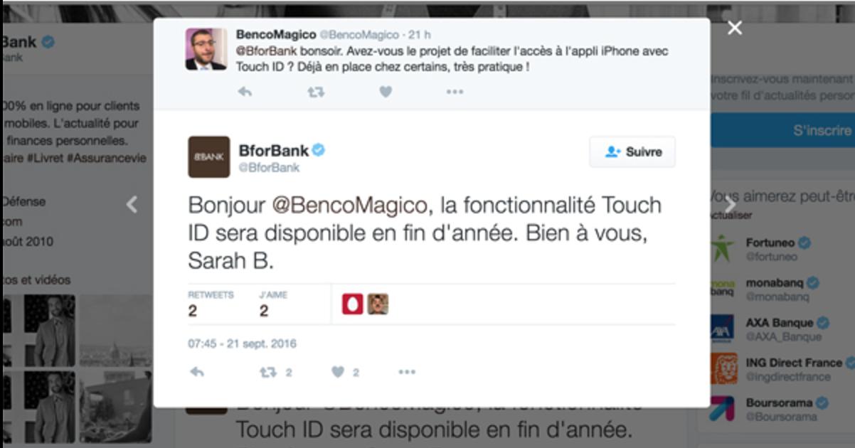 L'emprunte digitale chez BforBank pour contrôler son compte bancaire