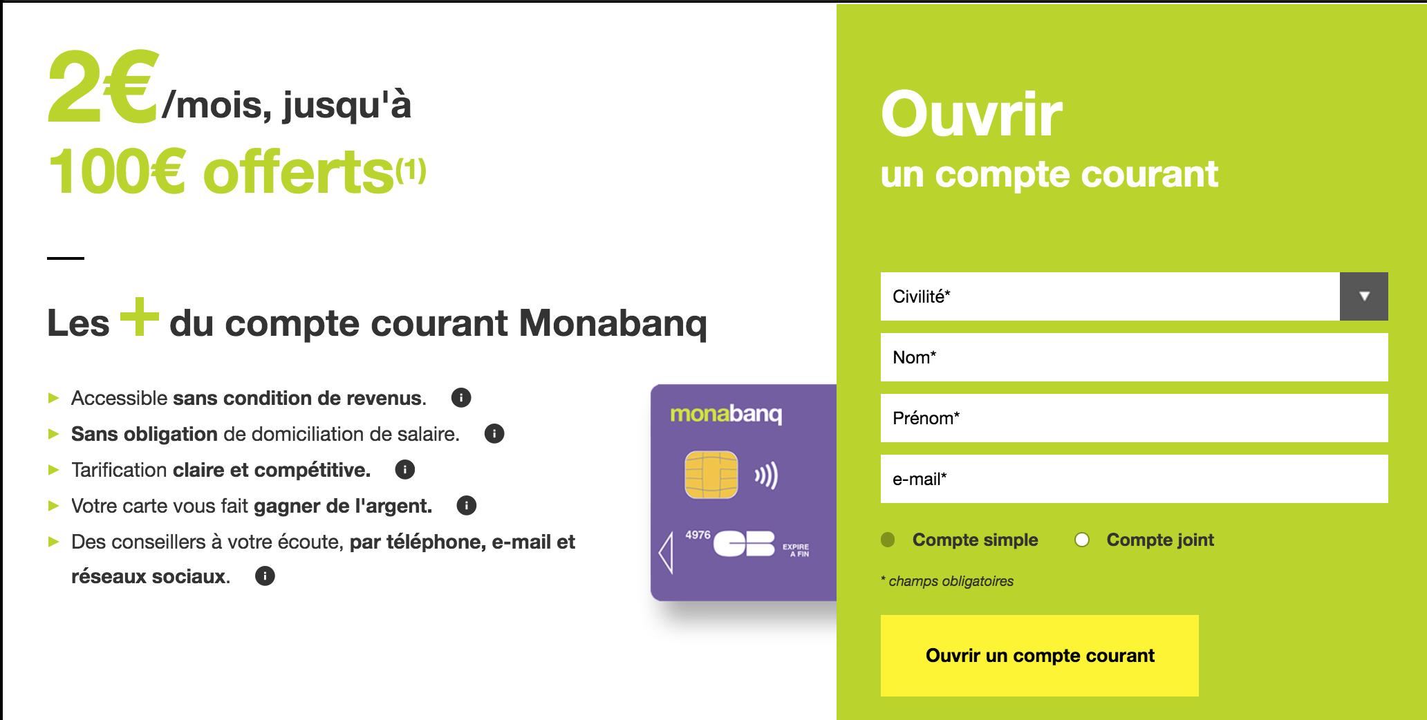 100 euros de bonus de bienvenue chez Monabanq