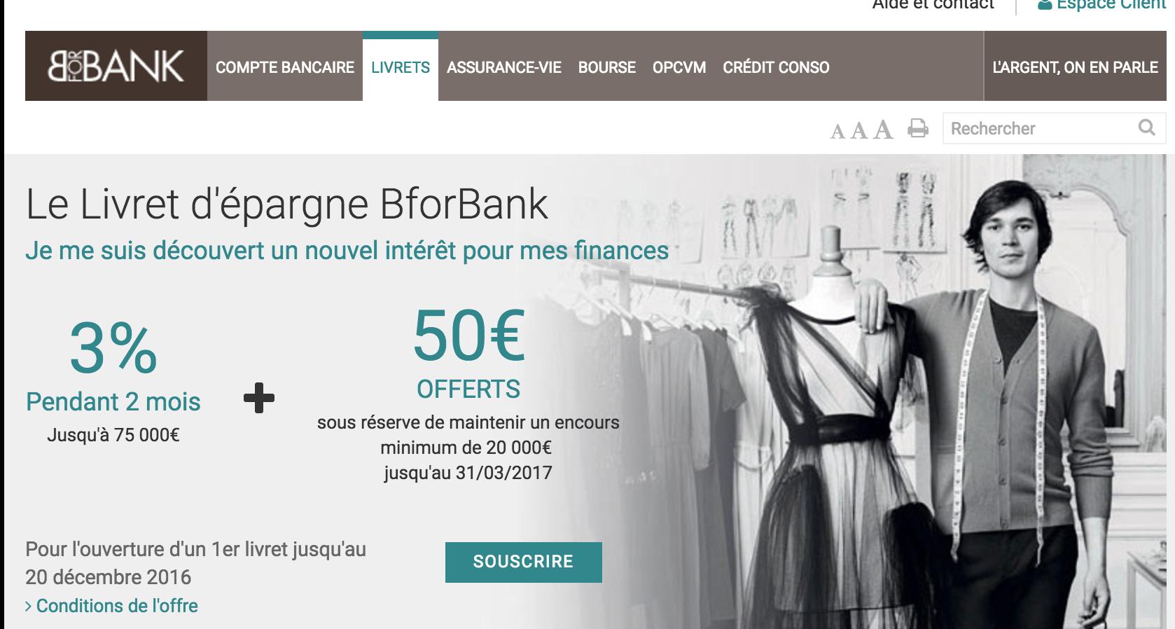 Baisse du Livret Epargne BforBank à 0,4% brut