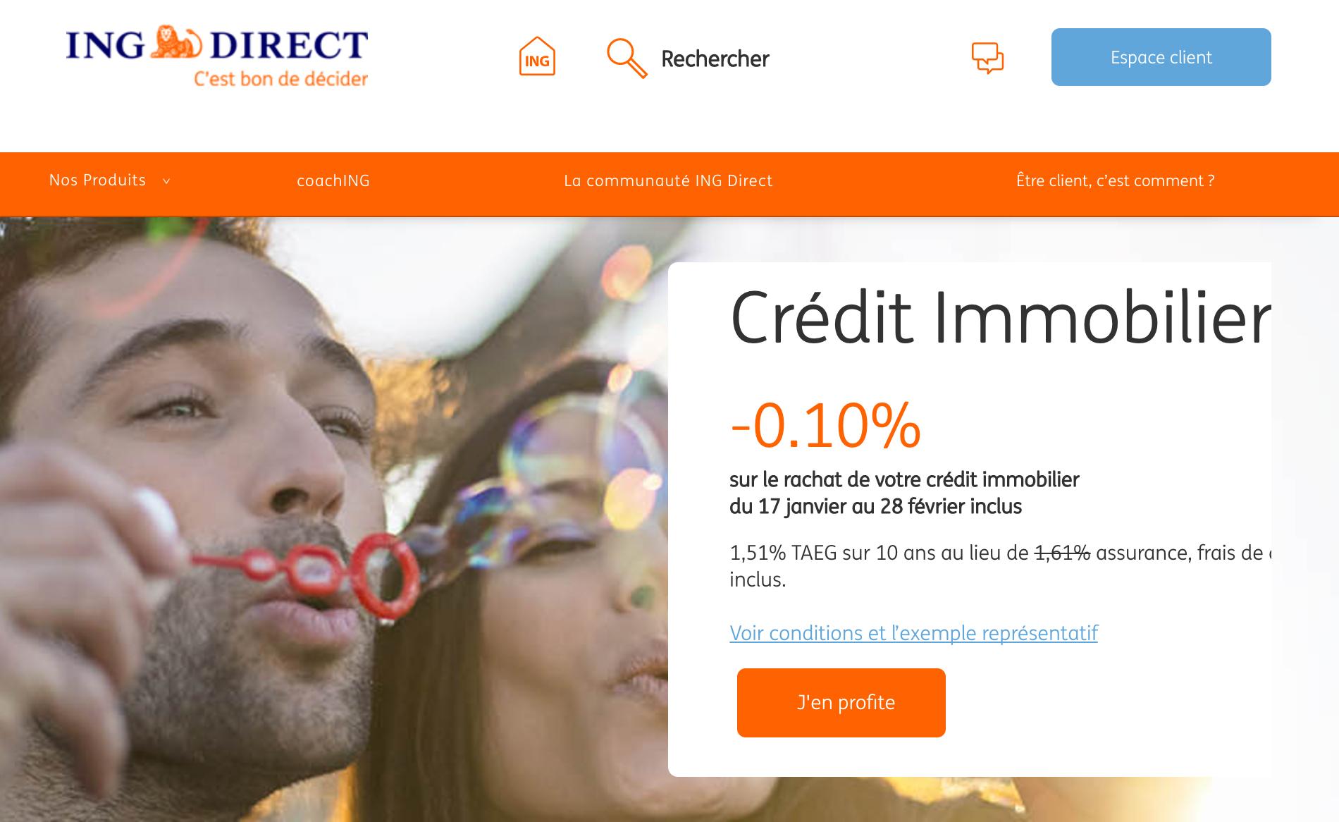 ING Direct : rachetez votre crédit immobilier jusqu'au 28 février