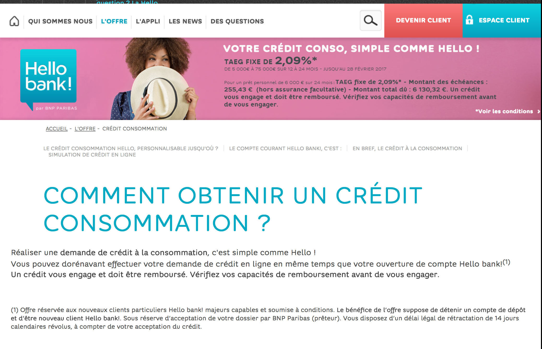 credit consommation Hello Bank