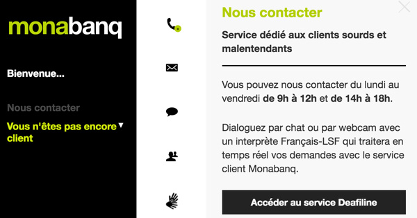 Monabanq a un service dédié aux sourds et malentendants
