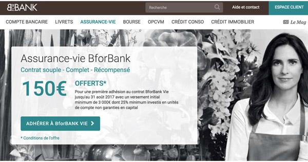 150 euros offerts Assurance Vie BforBank