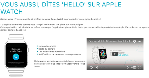 Avec Hello Bank! vous pouvez contrôler tout depuis l'Apple Watch