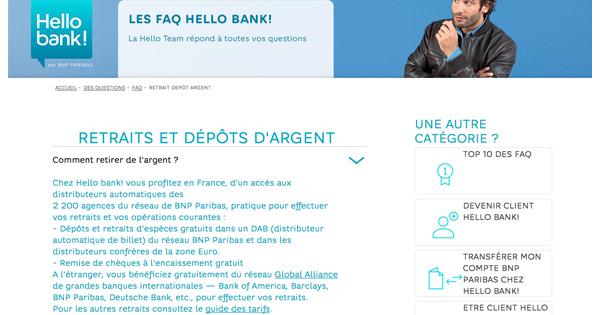 Retirer et déposer chez Hello Bank