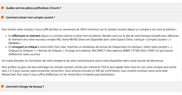 Versement minimum ING Direct compte courant
