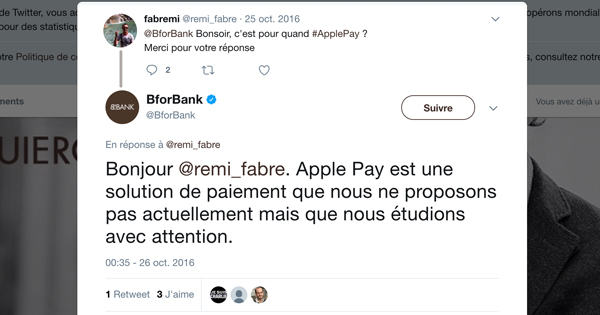 BforBank « étudie » Apple Pay, mais ne l'adopte pas