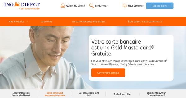 Carte bancaire Gold Mastercard ING Direct : prix et garanties