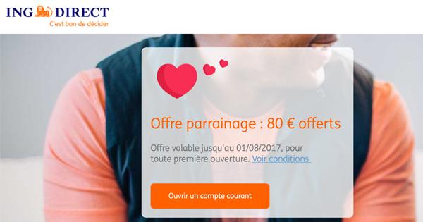 Parrainage ING Direct : 100€ pour le parrain, 80€ pour le filleul