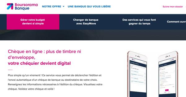 Easy-chèque Boursorama : envoyer un chèque en ligne gratuitement