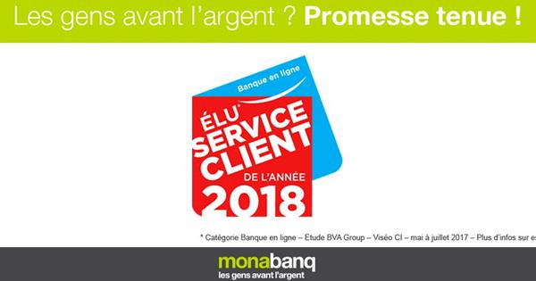 La banque Monabanq devient Service Client de l'Année 2018