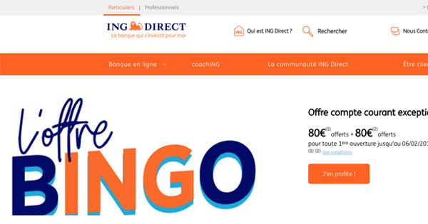 Bingo ING Direct : 160 euros de bonus pendant une semaine
