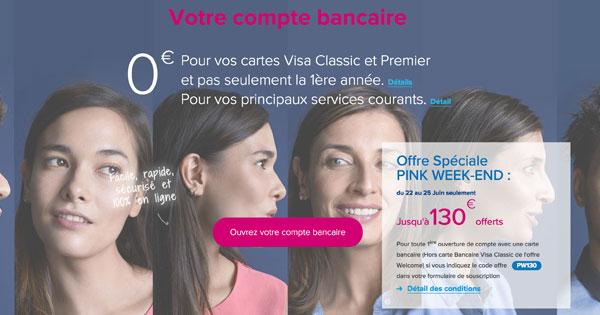 Pink Week-end Boursorama : 130€ de BONUS immédiat ici
