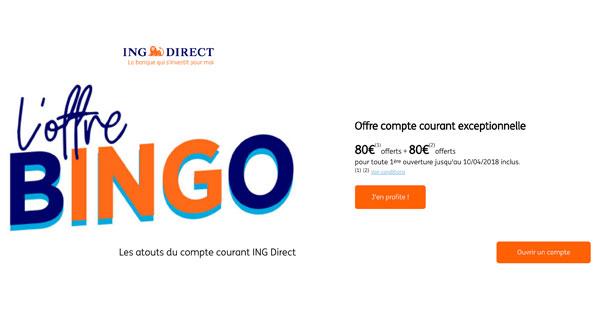 ING Direct Bingo : 80€ + 80€ de prime à l'ouverture d'un compte