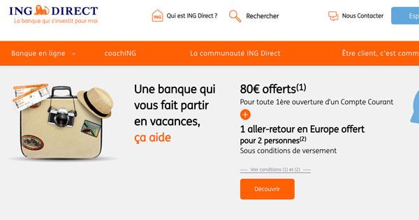 ING Direct : 80€ + 2 A/R en Europe offert à tous les nouveaux clients