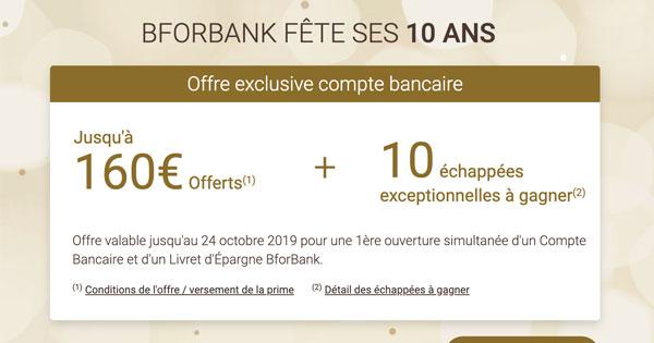 BforBank : 10 ans et un bonus de bienvenue gonflé à 160€